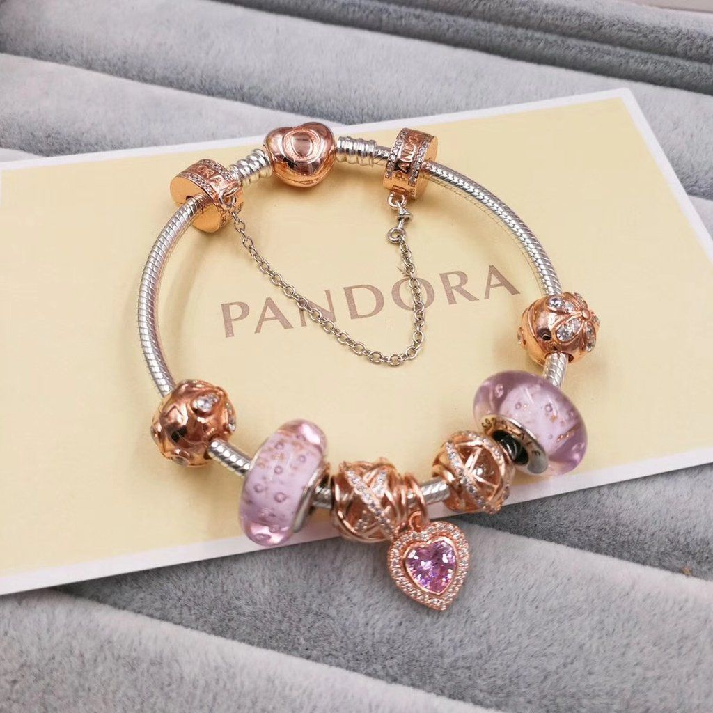 c6b7c9170 pandora charm bracelet with 7 pcs pink gold charms gold clasp head -  Xingjewelry