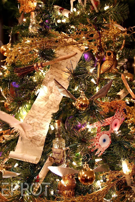 Harry Potter Themed Christmas Tree Epbot Final Potter Tree Reveal Winged Keys Potion Bottles Floating Quills