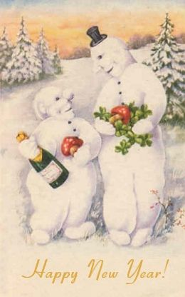 Scary As Hell Snowpeople Drunk On Champagne And Wishing Us A Happy
