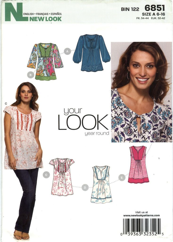 New Look 6851 Misses' Top Six Sizes in One