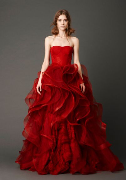Red Red Long Soft Wedding Dresses