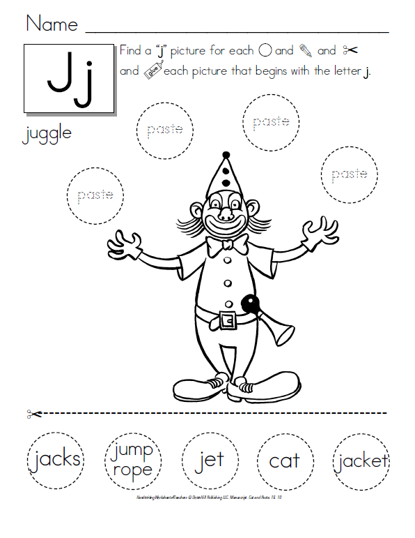Letter J Cut And Paste Worksheets Ibovnathandedecker