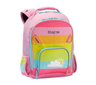 Small Backpack Fairfax Pink Rainbow Stripe With Aqua Trim
