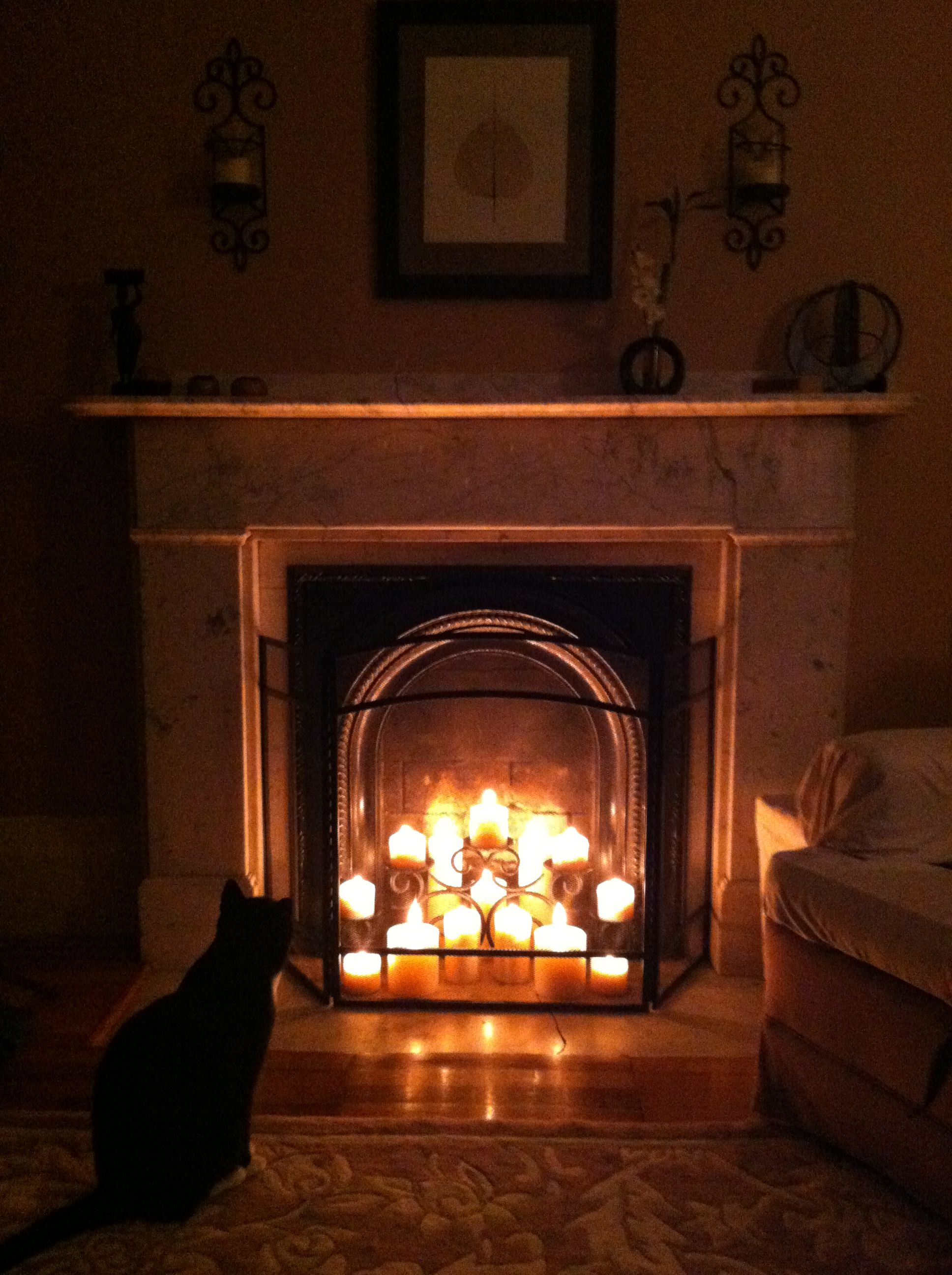 Candles In A Fireplace decorated my non-working fireplace with candles. | for the home