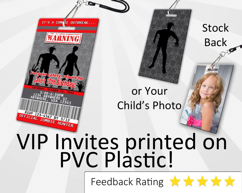 Zombie Invitation PLASTIC Zombie, Zombie Invitation, Birthday ...