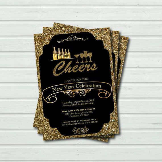 printable new year cheer new year eve cocktail party invitation elegant glitter holiday party invite