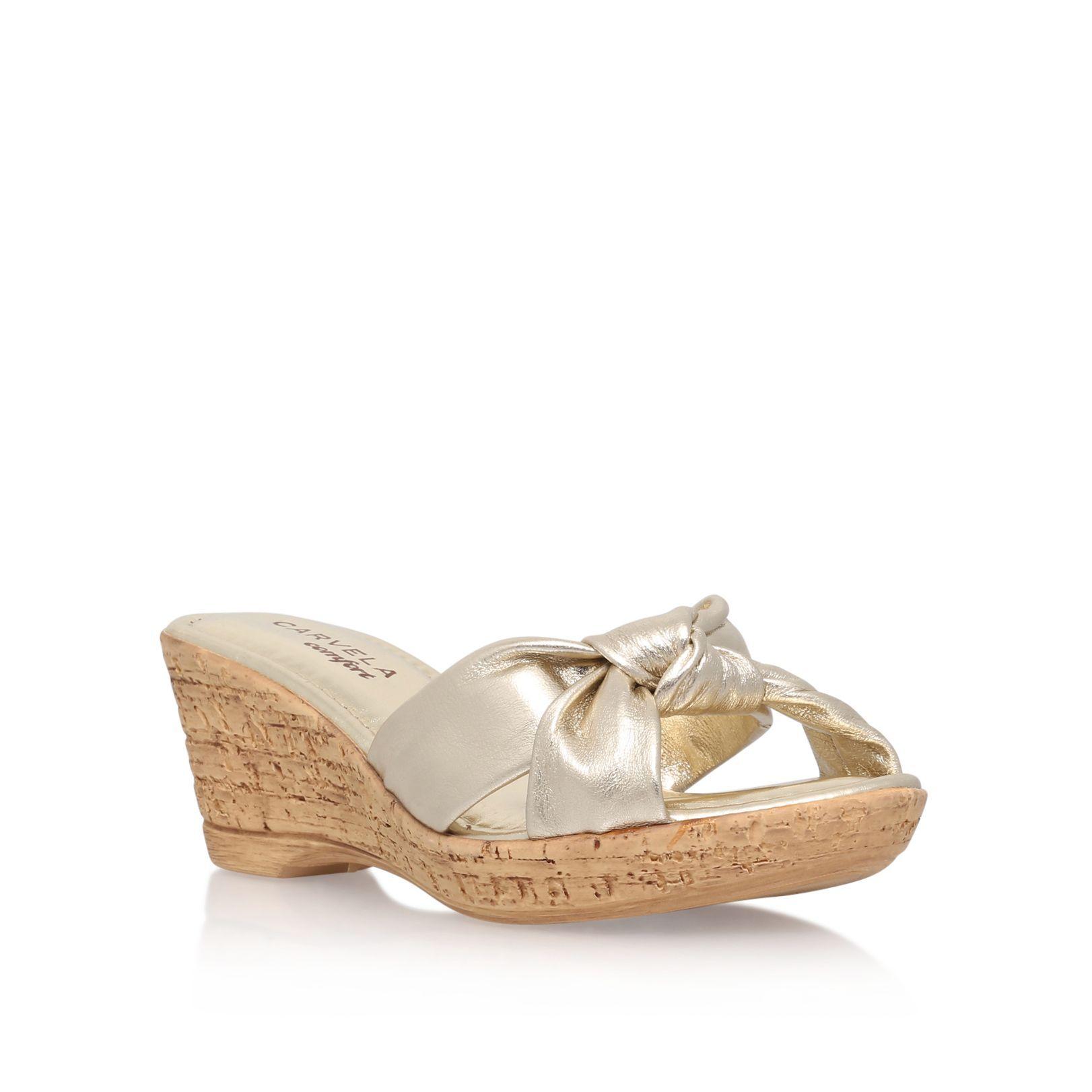 Carvela Skylar wedge slip on sandals, Gold