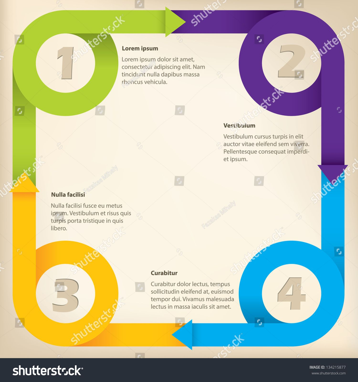 Curling arrow ribbons infographic design with options ad