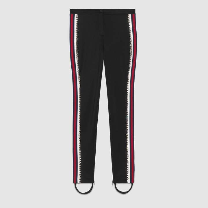 4bb29a58293 Gucci Technical jersey stirrup legging with crystals Stirrup Leggings