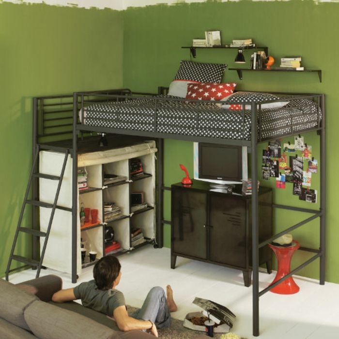 lit enfant mezzanine fer. Black Bedroom Furniture Sets. Home Design Ideas