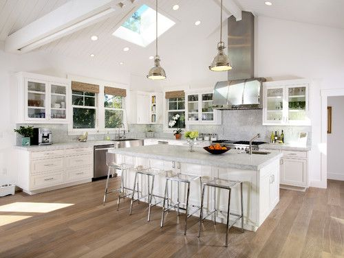 Captivating Kitchen Vaulted Ceiling Design, Pictures, Remodel, Decor And Ideas   Page  Lake. White Cabinets In The Kitchen. Home Decor And Interior Decorating  Ideas.