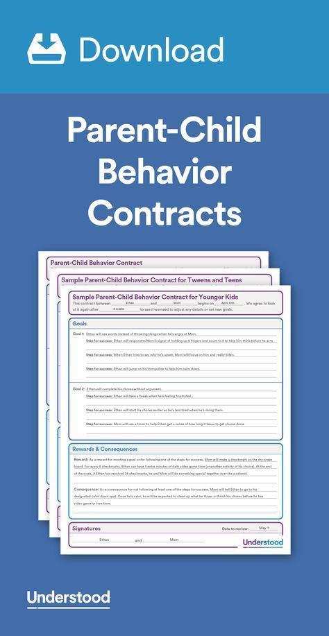 Download Parent-Child Behavior Contracts Behavior contract and - sample behavior contract