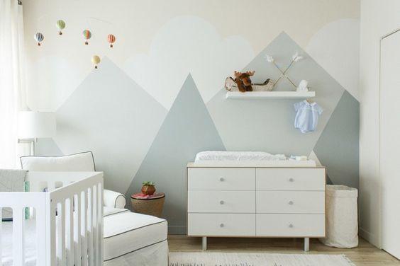 Hochwertig Wandgestaltung Mit Farbe Babyzimmer Helle Töne Einrichten Wandgemälde Berge