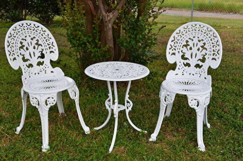 Angel White Garden Bistro Set Table And Two Chairs For Yard 3