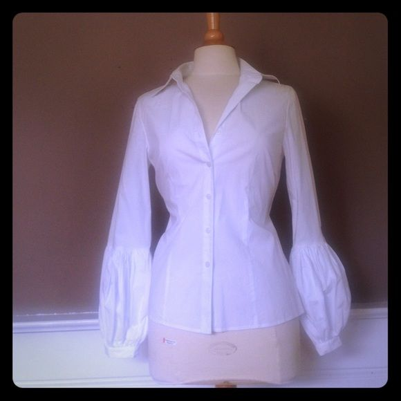 Michael Kors Blouse Button Down cotton Blouse with long puffed bottom sleeve Michael Kors Tops Blouses