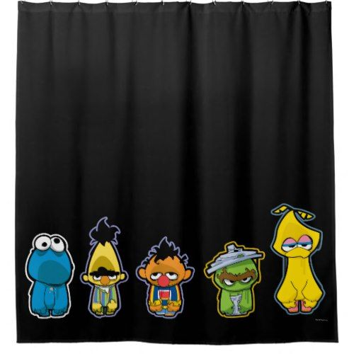 Zombie Sesame Street Characters Shower Curtain