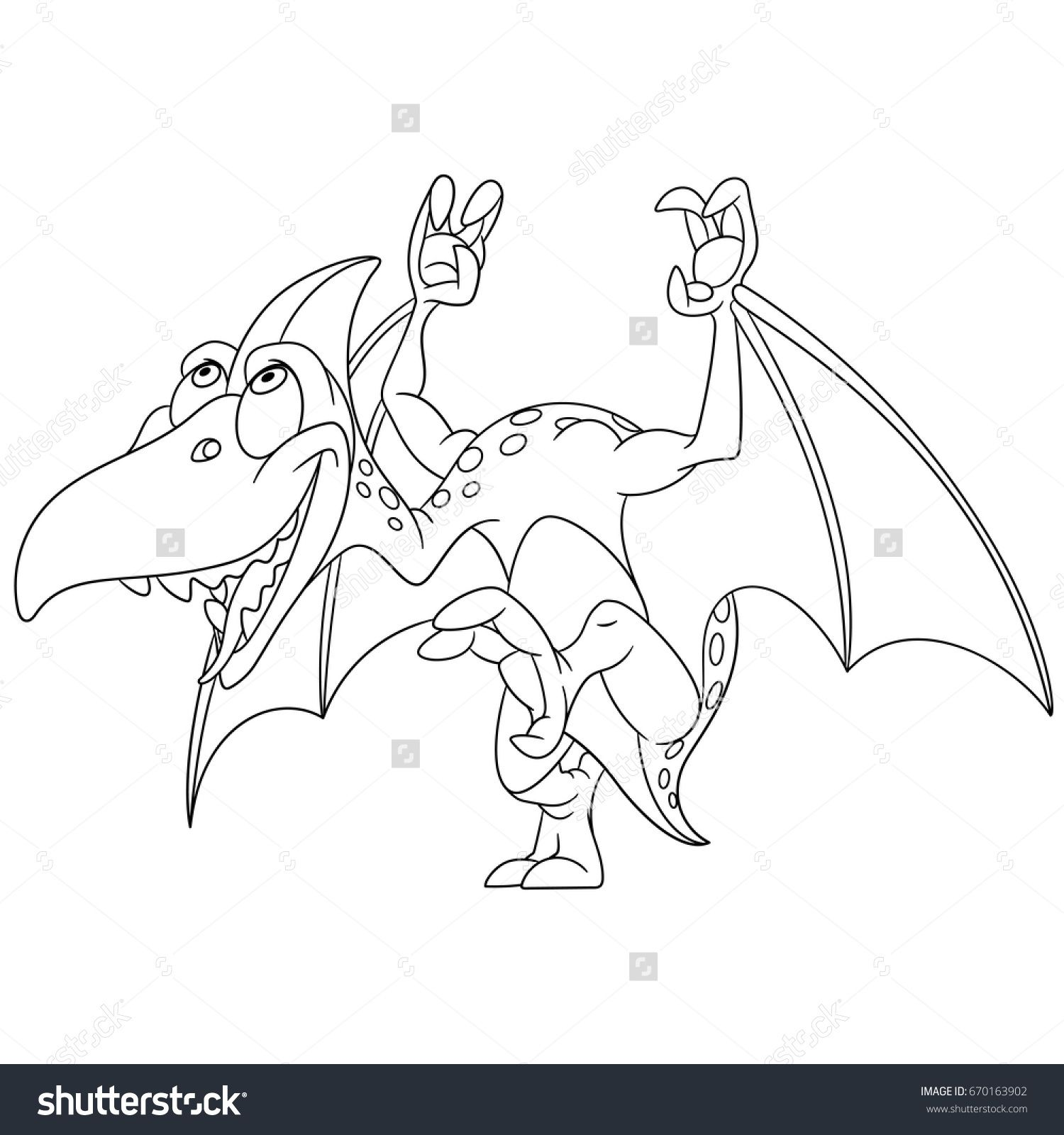 Coloring Page Cartoon Pterodactyl Dinosaur Vector Illustration