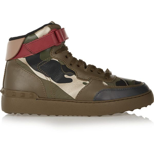 Valentino Camouflage-print leather high-top sneakers (€515) ❤ liked on Polyvore featuring shoes, sneakers, army green, colorful high top sneakers, velcro shoes, valentino sneakers, leather high top sneakers and leather high tops