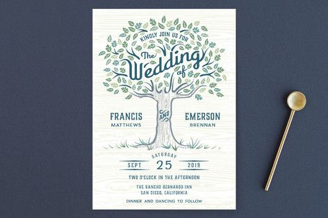 """Under the Tree"" - Wedding Invitations in Leaf Green by Paper Sun Studio."
