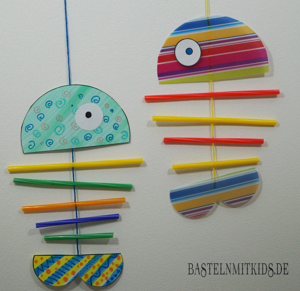 fisch basteln f r ein mobile basteln mit kindern basteln mit kindern fun crafts for kids. Black Bedroom Furniture Sets. Home Design Ideas