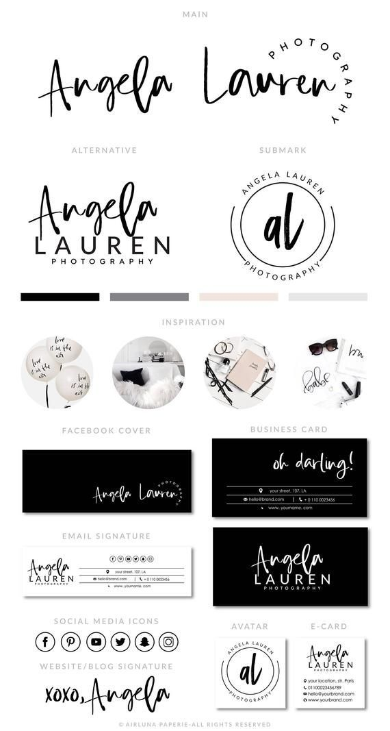 Blogger Branding Kit, Photography Logo, Premade calligraphy Logo Design, Salon Logo, Watermark, Logo Darling, thank you for stopping by AirLunaPaperie ☾ The Premade designs may be the perfect solution for photographers, bloggers, event planners, wedding venues, florists, interior designers, stylists, boutiques, fashion labels, make-up artists and other beautiful businesses. These - Das schönste Make-up