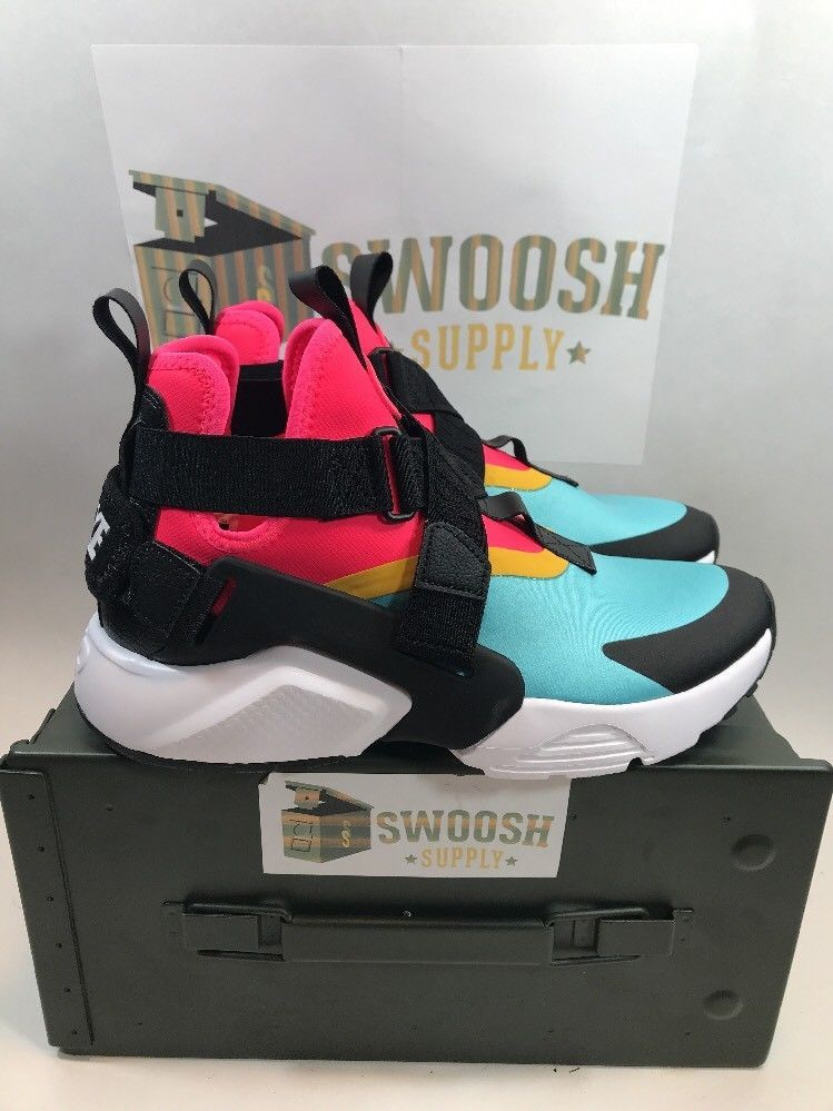 separation shoes 6fb97 a8dd7 Nike Air Huarache City Multi Aqua Black Racer Pink New Womens 7.5  AH6787-400  Nike  HighTop