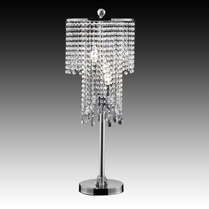 Falling Stars Chrome Table Lamp With Hanging Crystals