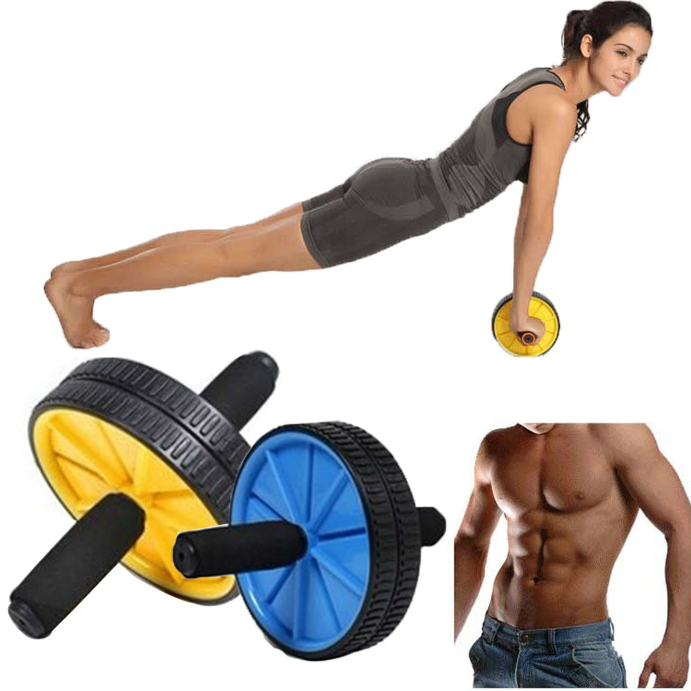 New fitness ab roller gym exercise abdominal waist belly