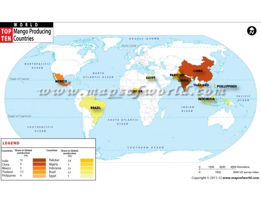Buy top mango producing countries of the world map buy top mango producing countries of the world map online gumiabroncs Image collections