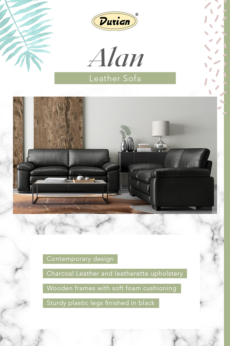 Update an unattractive, outdated living room with Alan leather sofa set for bliss comfort.  #DurianFurniture #LivingRoomFurniture #RoomDecorIdeas #LeatherSofas