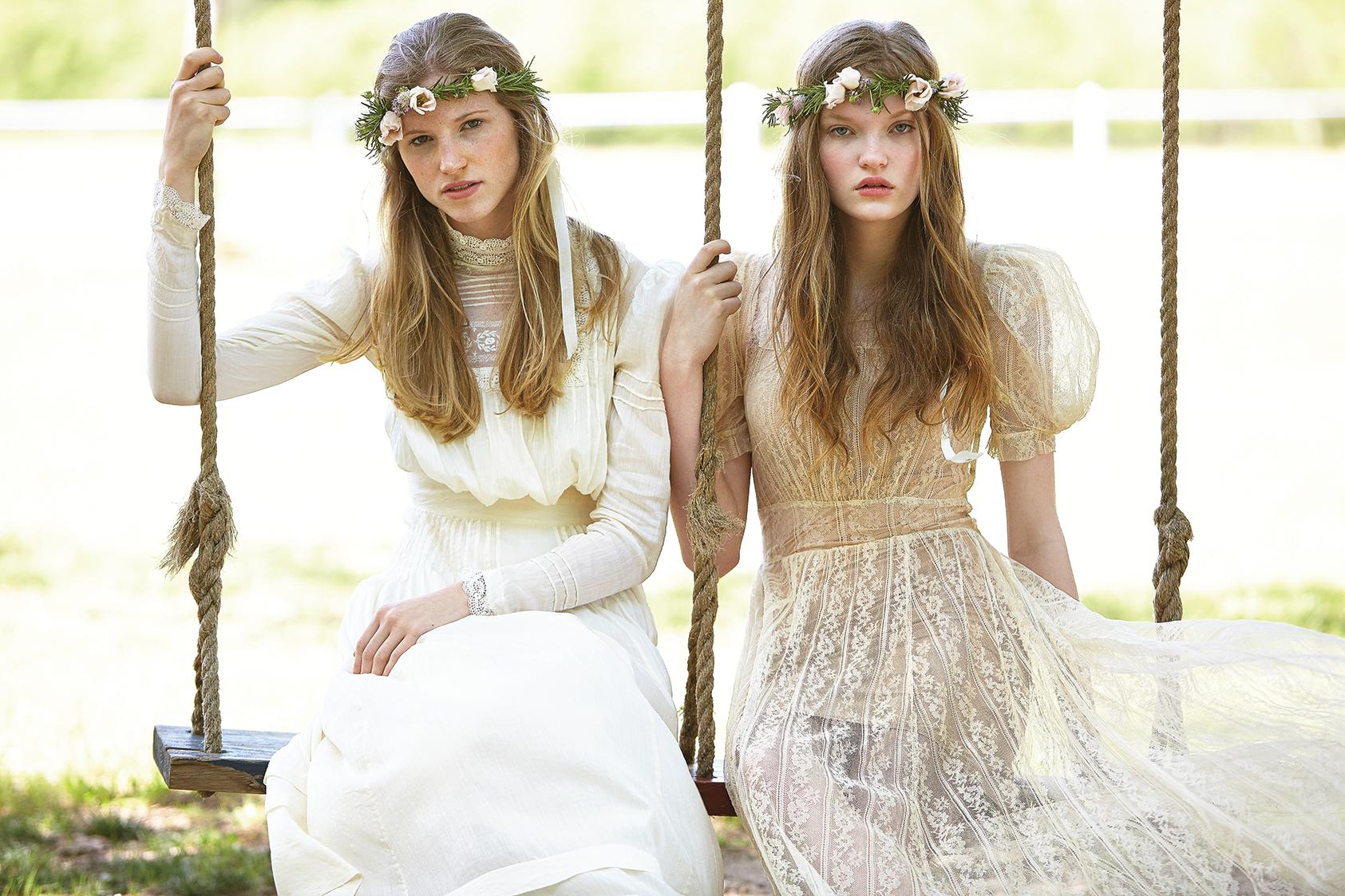 Allie wears a Desert Vintage Tucson vintage Victorian wedding dress ...