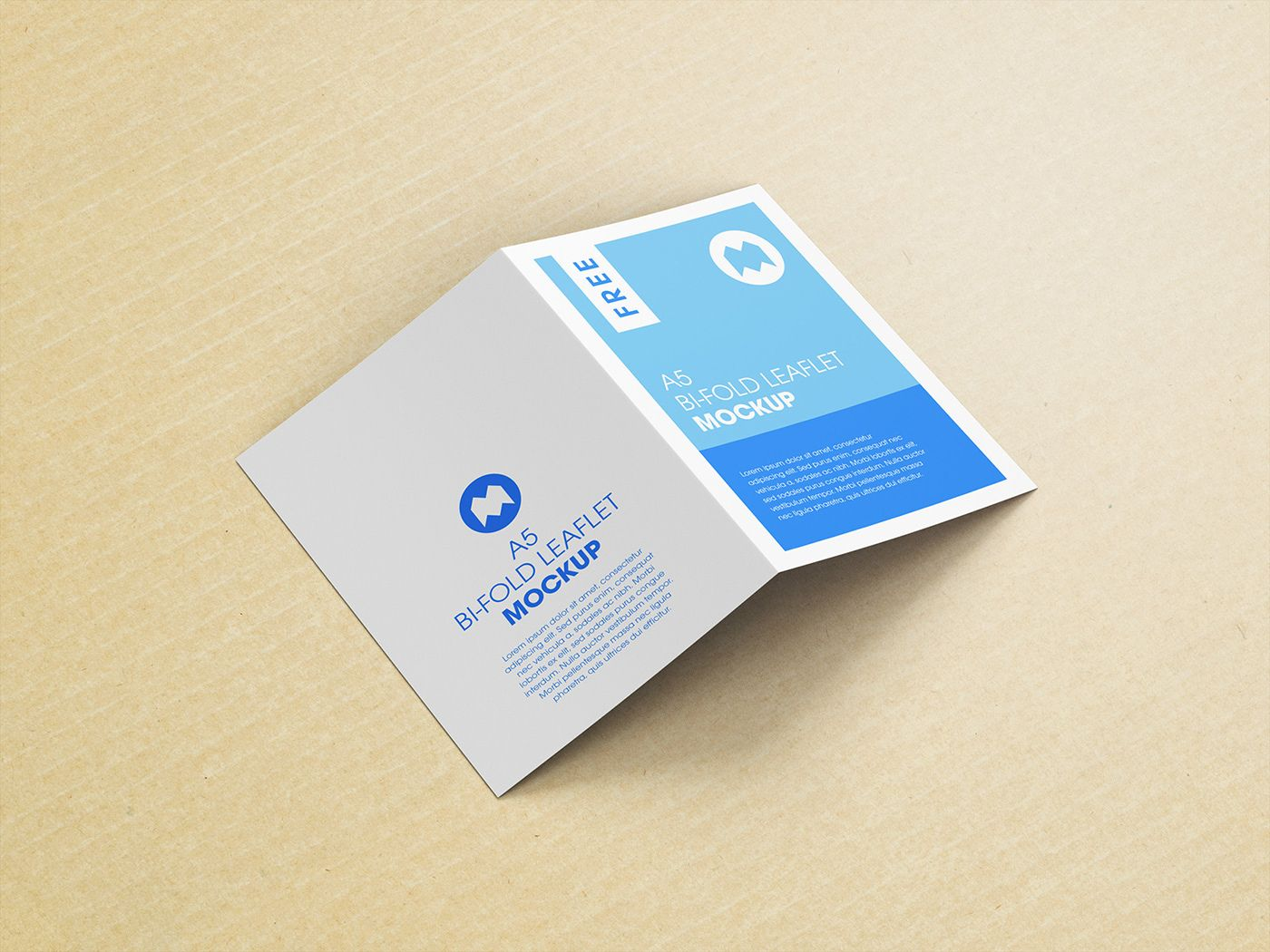 Free Bi Fold A5 Leaflet Mockup With Free Cardboard Paper Texture Easy To Use And Modify May Be Used In Private Leaflet Leaflet Design Cardboard Paper Texture