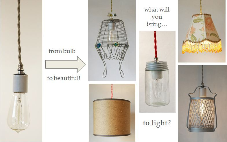 Diy swag kits made of beautiful cloth cord from shandells diy cloth cord swag pendant light kits make anything into a pendant light mozeypictures Image collections