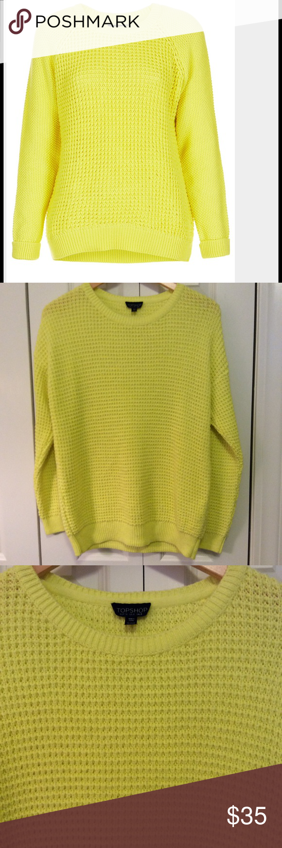 Topshop Neon Yellow Sweater | Yellow sweater, Waffle knit and Neon ...