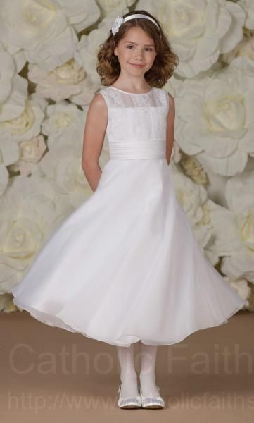 Plus Size First Communion Dress With Lace Appliqued Bodice From