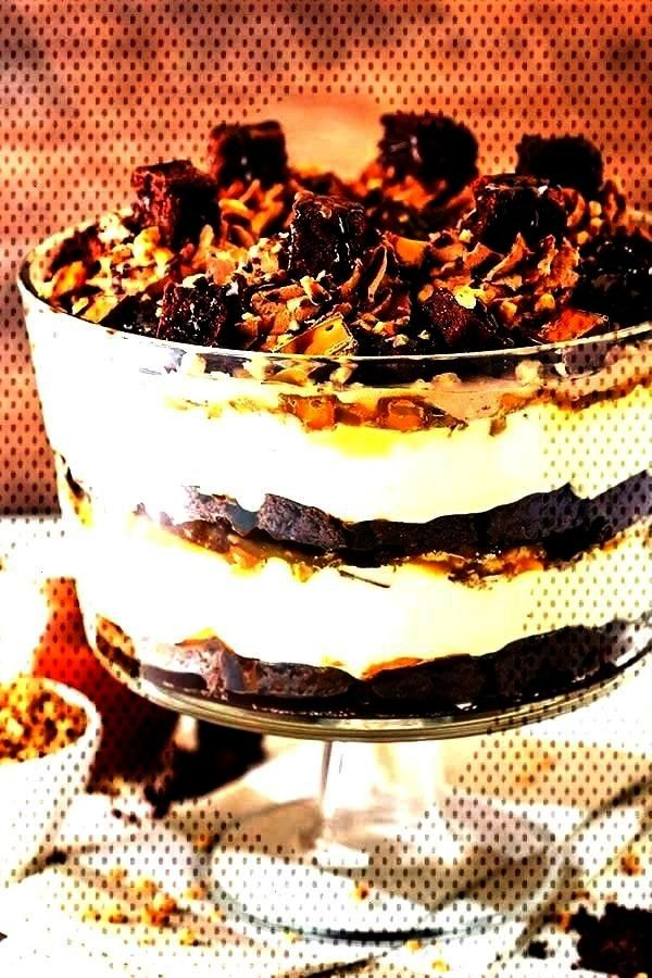 Brownie Trifle has layers of creamy caramel cheesecake filling, chewy chocolate Caramel Cheesecake