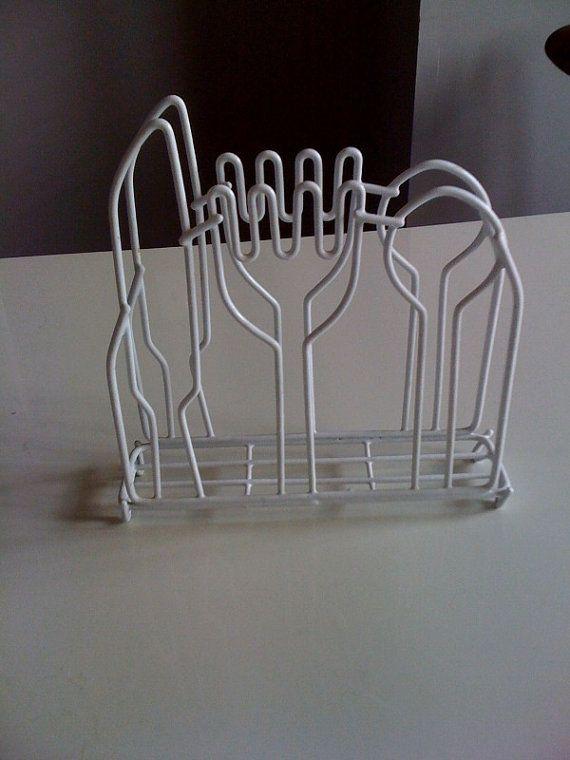 Vintage Mod Panton Era Knife Fork Spoon White Wire Napkin Holder  $12.00 USD  #PantonEra #RetroNapkinHolder