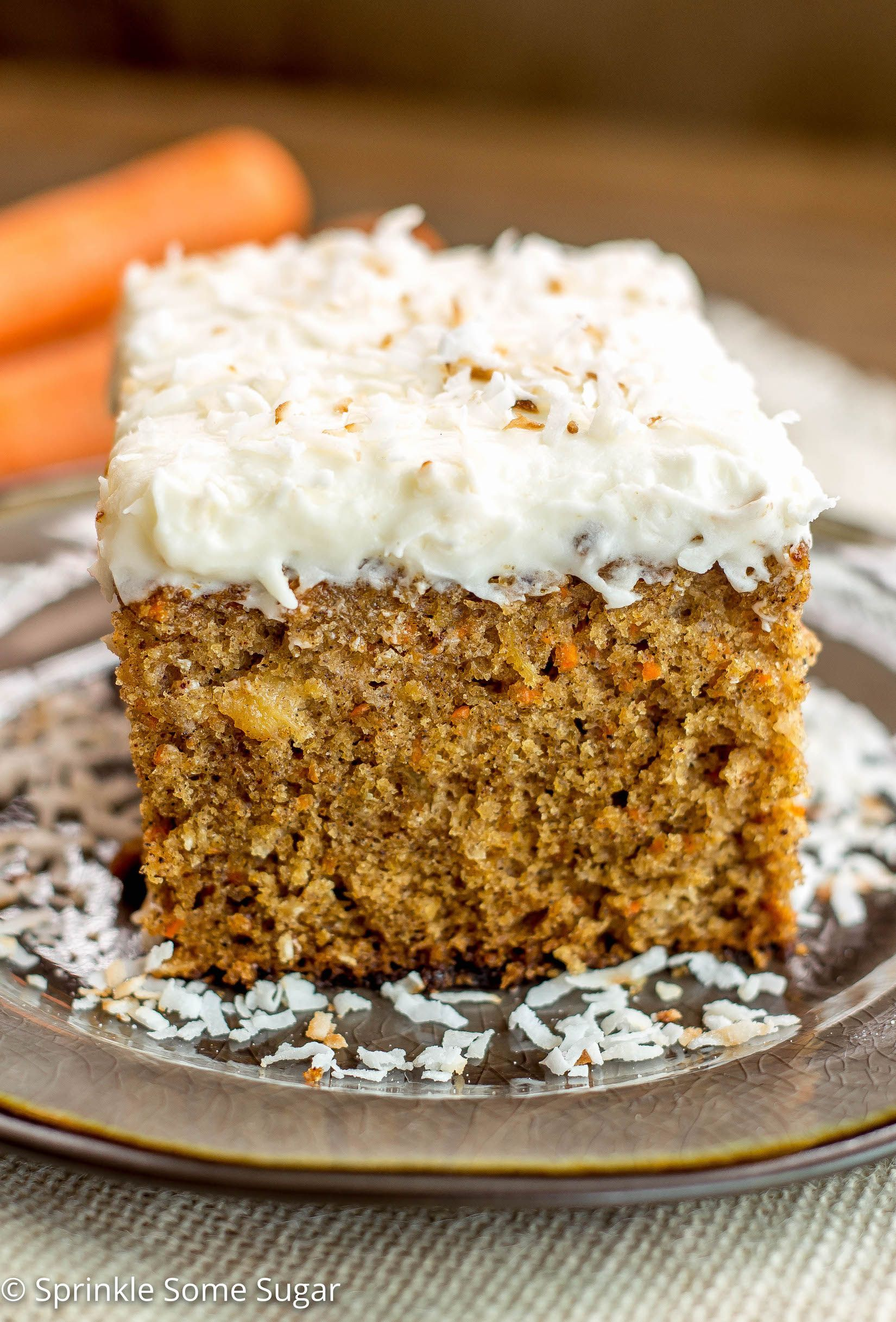 Pineapple Coconut Carrot Cake With Coconut Cream Cheese Frosting Sprinkle Some Sugar Recipe Whole Wheat Carrot Cake Carrot Cake Recipe Coconut Cream Cheese Frosting