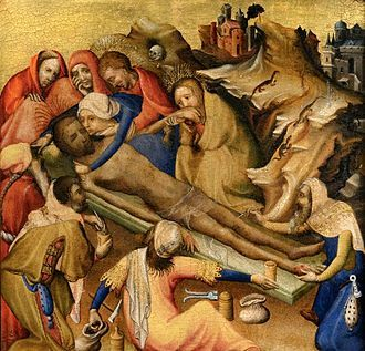 Embalming of the body of Christ from triptych, Netherlandish