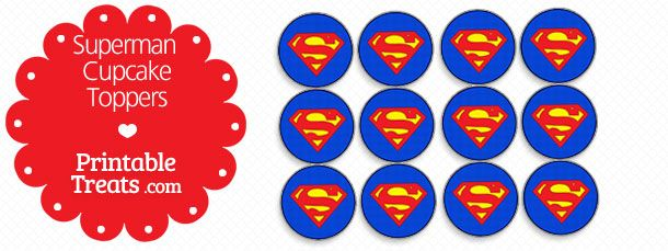 Superman Cupcake Toppers Printable Treats Com With Images