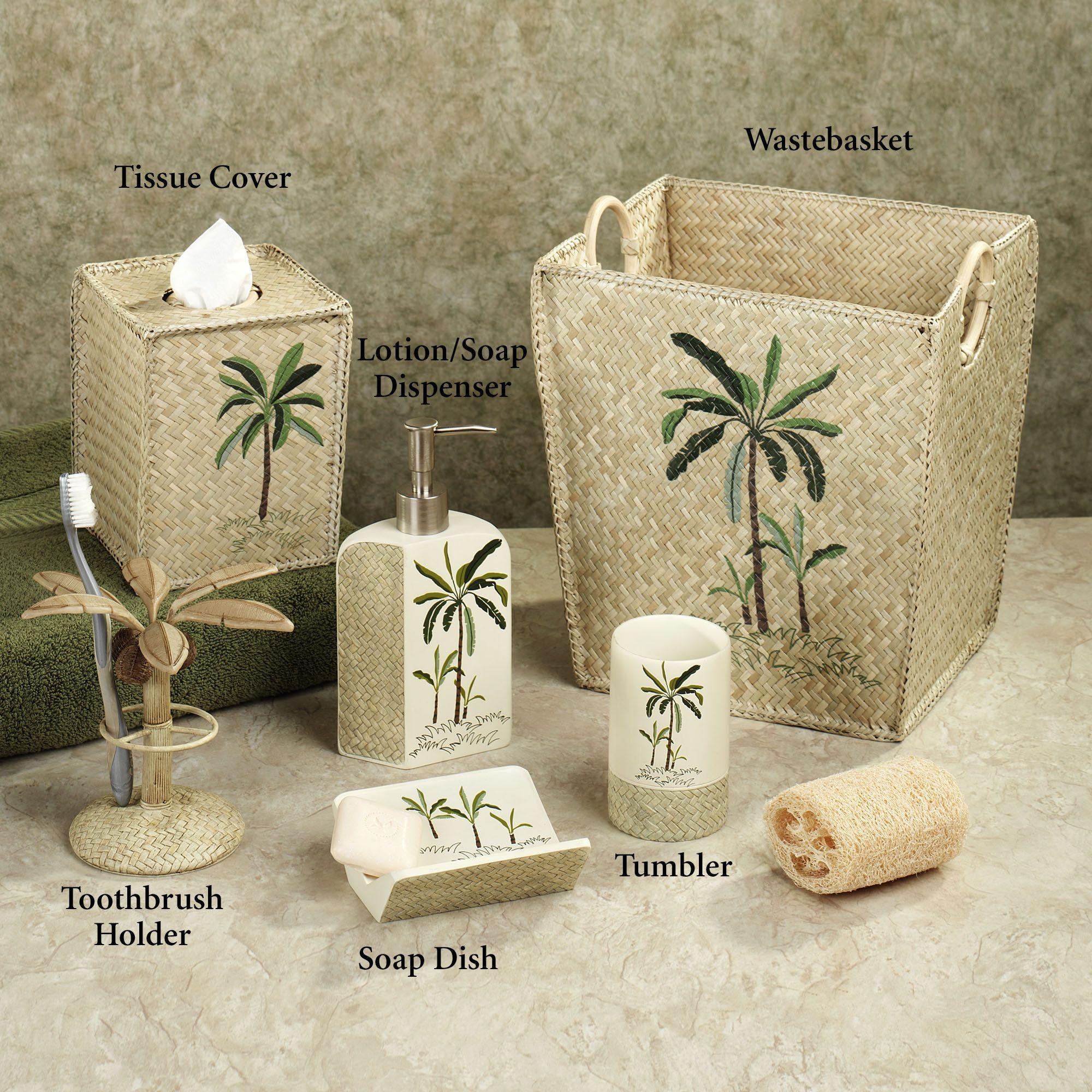 Charming Fiji II Palm Tree Tropical Bath Accessories By Croscill