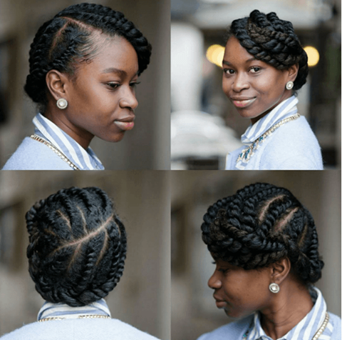neat protective style twisted updo