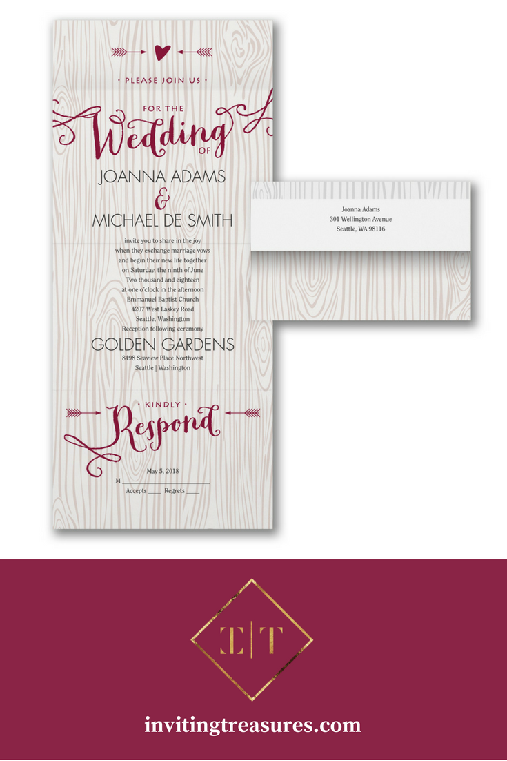 Tree carving wedding invitation | Rustic wedding invitation | Pink ...