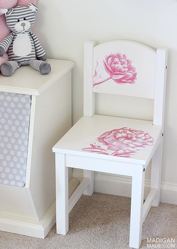 Ikea chaise enfants bidouille avec des images de fleurs de transfert de photo - Chaise suspendu ikea ...