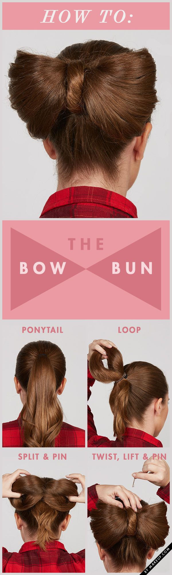We all love a girly hairstyle. There's nothing more girly than bows and buns... so why not combine them in one hair do? We're obsessed with this bow bun how to!