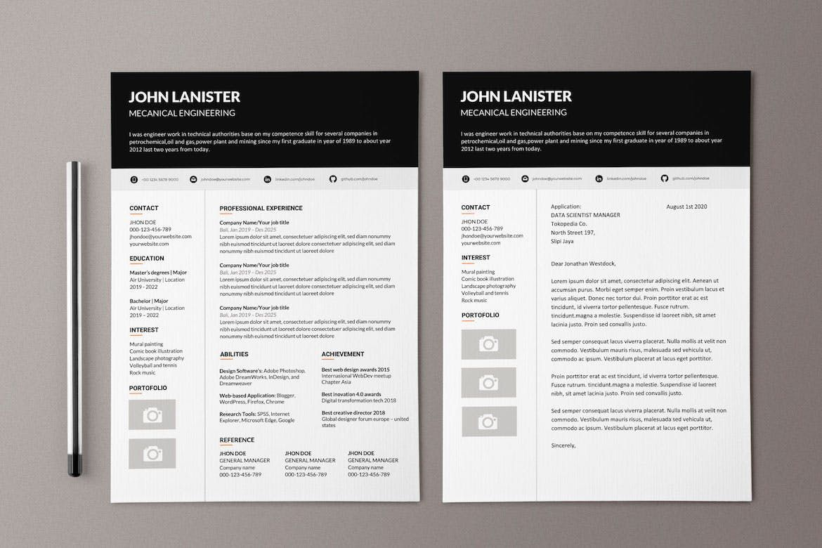 Modern Resume Template 4 Page Cv Template Cover Letter For Ms Word Instant Digital Download Modern Resume Template Resume Template Word Resume Words