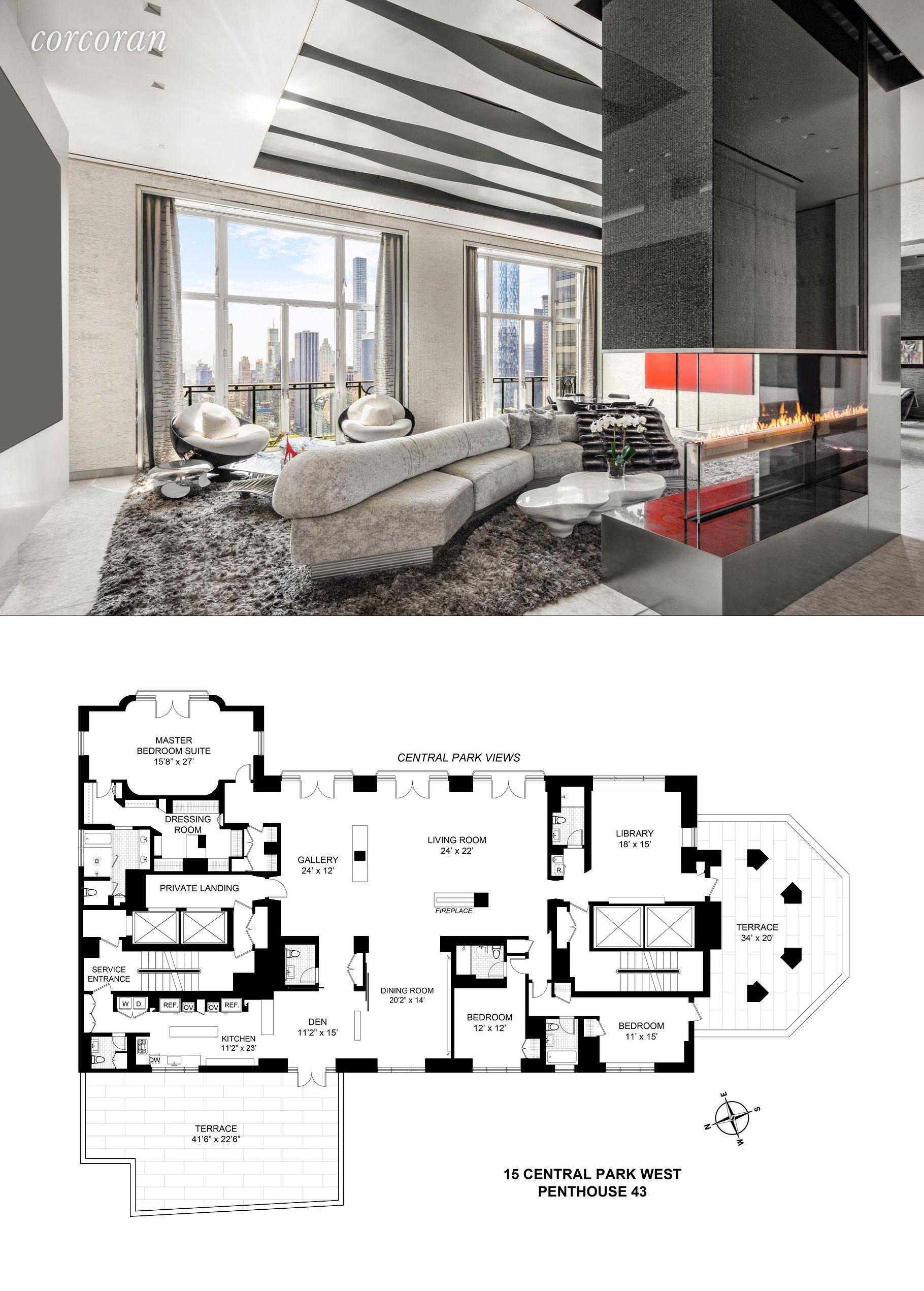 Billionaire S 15 Central Park West Penthouse Wants 57 5m Penthouse Apartment Floor Plan Apartment Floor Plans New York Apartments