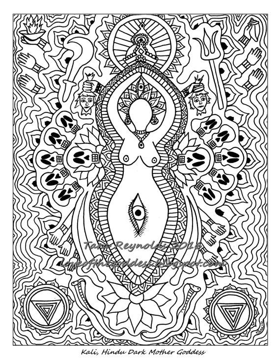 Adult Coloring Page, Mandala Coloring Page, Goddess Mandala, Kali ...