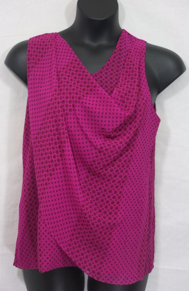 1547d48bb78 CAbi Fuchsia Brilliant Blouse Medium Sleeveless Drape Front Style 983  Women s Fashion