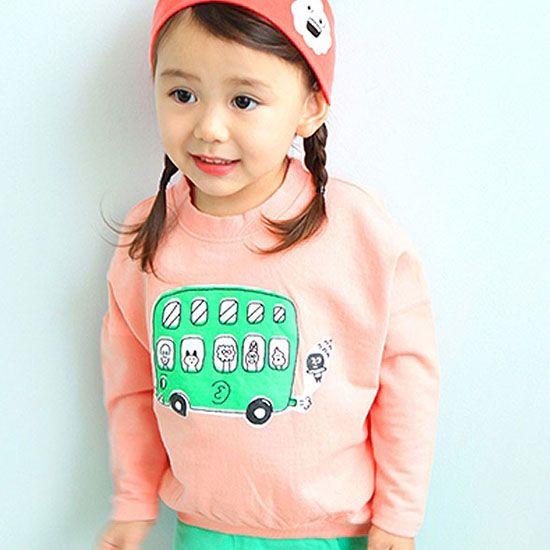 30e2e162e9970 ae-hem バスプリントロングTシャツ(ピンク) - 韓国子供服 通販 リズハピネス  キッズ服 ベビー服 男の子 女の子  こども服セレクトショップ